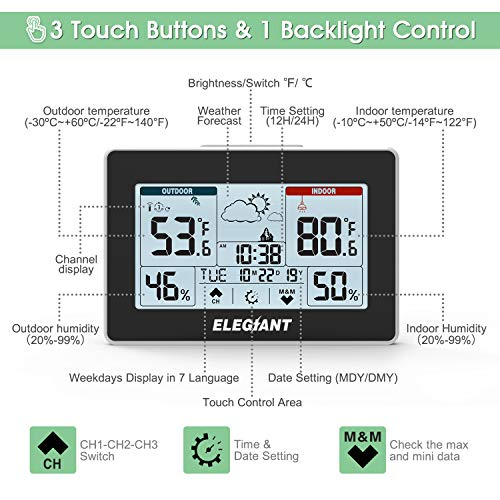 51WQhv78NCL - ELEGIANT Wireless Weather Station, Indoor Outdoor Thermometer Hygrometer with Sensor, LCD Touch Screen, Digital Temperature Humidity Monitor, Weather Forecast, Time & Date(7 Language), 3 Channels