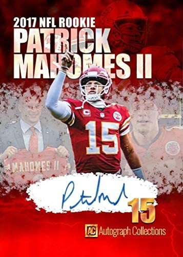 """51WgSPCvO+L. AC  - 2017 Patrick Mahomes Rookie Football Rookie Card -""""Autograph Collections"""" Custom Made Fascimile Autograph Football Card"""