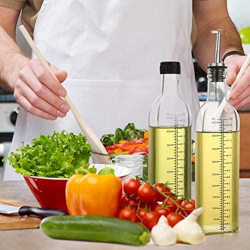 51YgFl4bzIL. AC  - [2 PACK]Aozita 17 oz Glass Olive Oil Dispenser Bottle Set - 500ml Clear Oil & Vinegar Cruet Bottle with Pourers, Funnel and Labels - Olive Oil Carafe Decanter for Kitchen