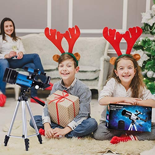 51YuzWAJV6L. AC  - FREE SOLDIER Telescope for Kids&Astronomy Beginners - 70mm Aperture Refractor Telescope for Stargazing With Adjustable Tripod Phone Adapter Wireless Remote Perfect Travel Telescope Gift for Kids, Blue