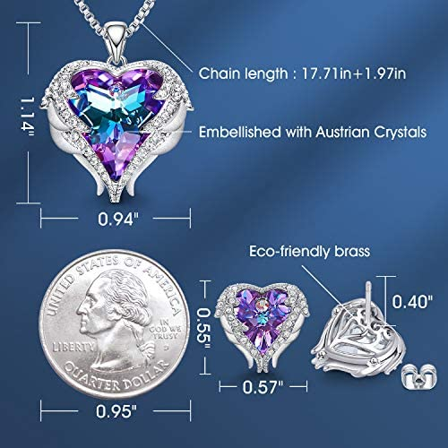 51co7MXio6L. AC  - CDE Angel Wing Love Heart Necklaces and Earrings Silver Tone/Gold Tone Jewelry Sets Birthday/Anniversary Christmas Jewelry Gifts for Women Mom/Wife/Sister/Best Friend