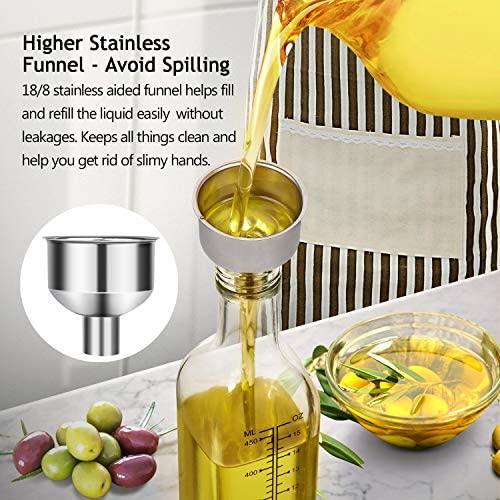51eErFnpHML. AC  - [2 PACK]Aozita 17 oz Glass Olive Oil Dispenser Bottle Set - 500ml Clear Oil & Vinegar Cruet Bottle with Pourers, Funnel and Labels - Olive Oil Carafe Decanter for Kitchen