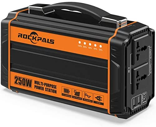 51es+bzVcFL. AC  - Rockpals 250-Watt Portable Generator Rechargeable Lithium Battery Pack Solar Generator with 110V AC Outlet, 12V Car, USB Output Off-grid Power Supply for CPAP Backup Camping Emergency