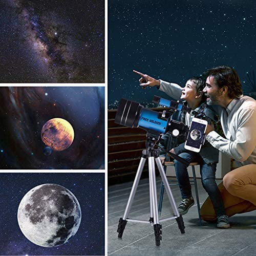 51flwjZMwGL. AC  - FREE SOLDIER Telescope for Kids&Astronomy Beginners - 70mm Aperture Refractor Telescope for Stargazing With Adjustable Tripod Phone Adapter Wireless Remote Perfect Travel Telescope Gift for Kids, Blue