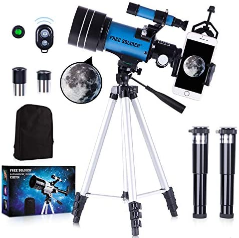 51fyp9a7uVL. AC  - FREE SOLDIER Telescope for Kids&Astronomy Beginners - 70mm Aperture Refractor Telescope for Stargazing With Adjustable Tripod Phone Adapter Wireless Remote Perfect Travel Telescope Gift for Kids, Blue