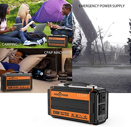 51g582m5pXL. AC  - Rockpals 250-Watt Portable Generator Rechargeable Lithium Battery Pack Solar Generator with 110V AC Outlet, 12V Car, USB Output Off-grid Power Supply for CPAP Backup Camping Emergency