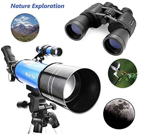 51g9W0GBsUL. AC  - MaxUSee Travel Telescope with Backpack - 70mm Refractor Telescope & 10X50 HD Binoculars Bak4 Prism FMC Lens for Moon Viewing Bird Watching Sightseeing
