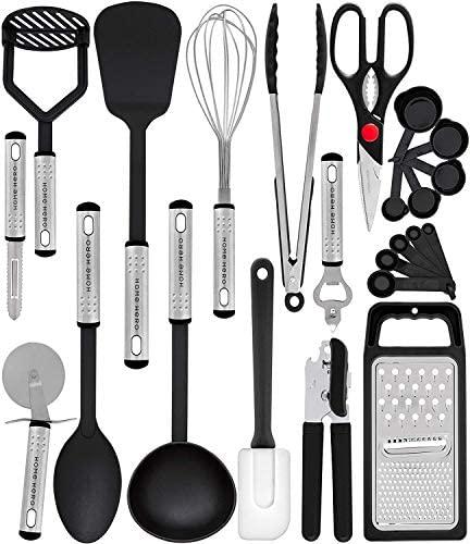 51gE++xMsKL. AC  - Home Hero Kitchen Utensil Set - 23 Nylon Cooking Utensils - Kitchen Utensils with Spatula - Kitchen Gadgets Cookware Set - Kitchen Tool Set