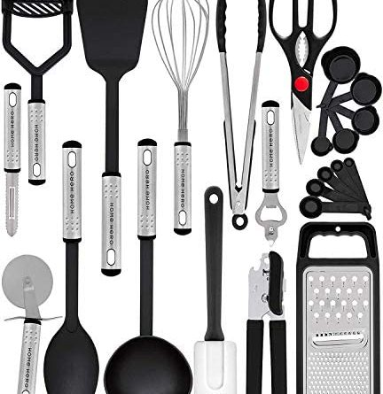 51gExMsKL. AC  432x445 - Home Hero Kitchen Utensil Set - 23 Nylon Cooking Utensils - Kitchen Utensils with Spatula - Kitchen Gadgets Cookware Set - Kitchen Tool Set