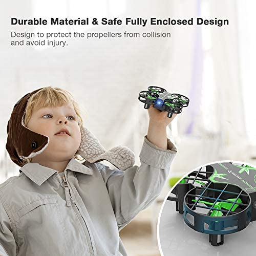 51iTzxTCeaL. AC  - SNAPTAIN H823H Mini Drone for Kids, RC Pocket Quadcopter with Altitude Hold, Headless Mode, 3D Flip, Speed Adjustment and 3 Batteries-Green