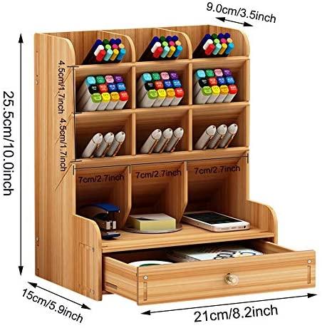 51nJppKLWWL. AC  - Marbrasse Wooden Desk Organizer, Multi-Functional DIY Pen Holder Box, Desktop Stationary, Easy Assembly ,Home Office Supply Storage Rack with Drawer (B11-Cherry Color)