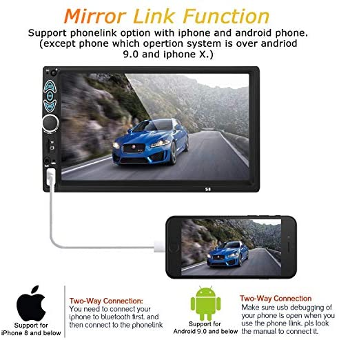 51r7i3UwTlL. AC  - Double Din Car Stereo-7 inch Car Stereo Upgrade Touch Screen,Compatible with BT TF USB MP5/4/3 Player FM Double din car Radio,Support Backup Rear View Camera, Mirror Link
