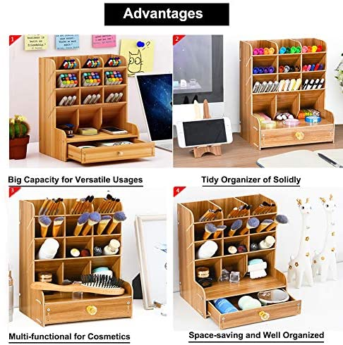 51t6JsIfyCL. AC  - Marbrasse Wooden Desk Organizer, Multi-Functional DIY Pen Holder Box, Desktop Stationary, Easy Assembly ,Home Office Supply Storage Rack with Drawer (B11-Cherry Color)