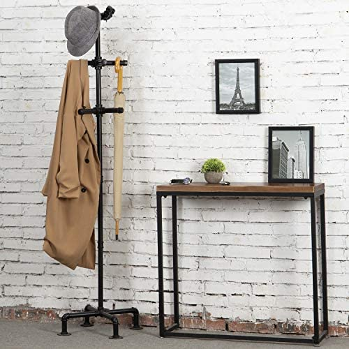 51t974qxdmL. AC  - MyGift 65-Inch Industrial Black Metal Pipe 12-Hook Coat Stand