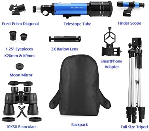 51uViiOVDKL. AC  - MaxUSee Travel Telescope with Backpack - 70mm Refractor Telescope & 10X50 HD Binoculars Bak4 Prism FMC Lens for Moon Viewing Bird Watching Sightseeing