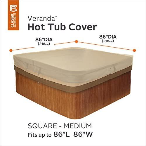 51zslm6czJL. AC  - Classic Accessories 55-585-011501-00 Veranda Water-Resistant 86 Inch Square Hot Tub Cover,Pebble,Medium
