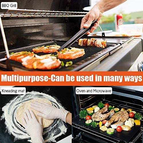 614Sbe73NmL. AC  - ACMETOP 6 Pack Large Grill Mat, Non Stick BBQ Grill Mat, Reusable Grill Mats with Two Oil Brushes, Easy to Clean Barbecue Grilling Accessories for Gas, Charcoal, Electric Grill - 19.69 x 15.75 Inch