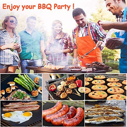 61QOdJY+V8L. AC  - ACMETOP 6 Pack Large Grill Mat, Non Stick BBQ Grill Mat, Reusable Grill Mats with Two Oil Brushes, Easy to Clean Barbecue Grilling Accessories for Gas, Charcoal, Electric Grill - 19.69 x 15.75 Inch