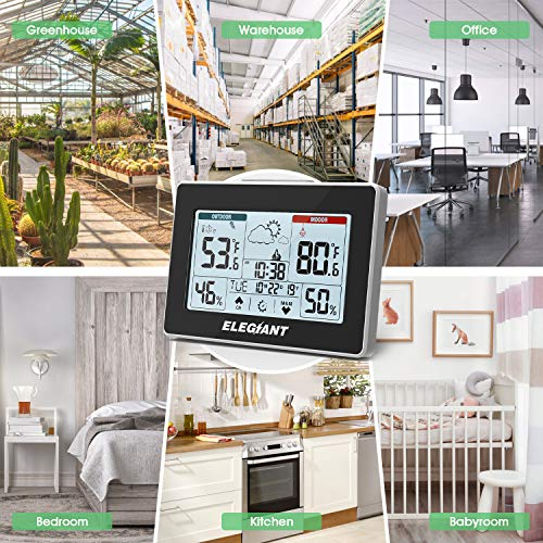 61fN6+BgZ+L - ELEGIANT Wireless Weather Station, Indoor Outdoor Thermometer Hygrometer with Sensor, LCD Touch Screen, Digital Temperature Humidity Monitor, Weather Forecast, Time & Date(7 Language), 3 Channels