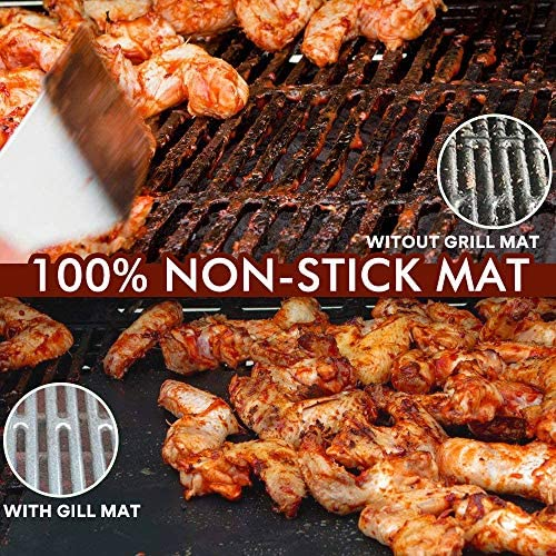 61gUp  KIZL. AC  - ACMETOP 6 Pack Large Grill Mat, Non Stick BBQ Grill Mat, Reusable Grill Mats with Two Oil Brushes, Easy to Clean Barbecue Grilling Accessories for Gas, Charcoal, Electric Grill - 19.69 x 15.75 Inch