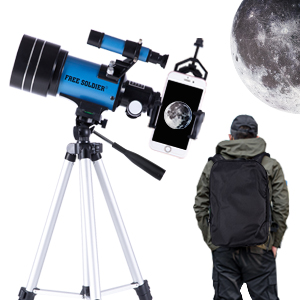 6f07bde9 908f 4270 9711 0dca20f8e866.  CR0,0,300,300 PT0 SX300 V1    - FREE SOLDIER Telescope for Kids&Astronomy Beginners - 70mm Aperture Refractor Telescope for Stargazing With Adjustable Tripod Phone Adapter Wireless Remote Perfect Travel Telescope Gift for Kids, Blue