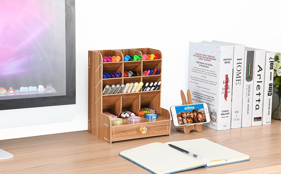 8c7e6578 355c 468b 987e daa4efb2543c.  CR0,0,970,600 PT0 SX970 V1    - Marbrasse Wooden Desk Organizer, Multi-Functional DIY Pen Holder Box, Desktop Stationary, Easy Assembly ,Home Office Supply Storage Rack with Drawer (B11-Cherry Color)