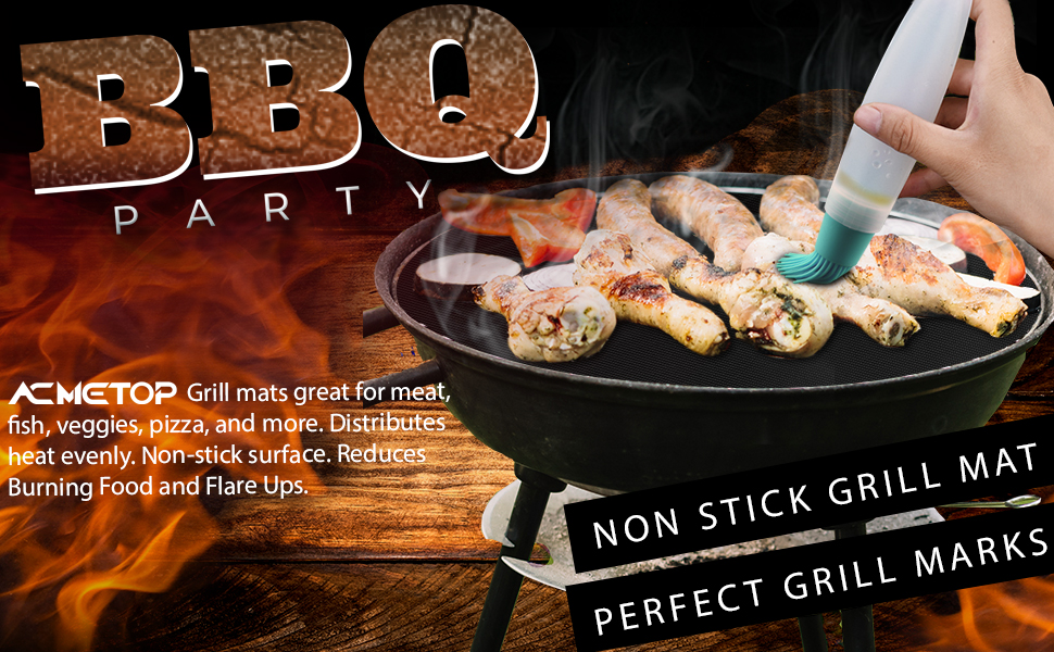 9a60e608 78b3 4696 b9ae 19b8c49579d3.  CR0,0,970,600 PT0 SX970 V1    - ACMETOP 6 Pack Large Grill Mat, Non Stick BBQ Grill Mat, Reusable Grill Mats with Two Oil Brushes, Easy to Clean Barbecue Grilling Accessories for Gas, Charcoal, Electric Grill - 19.69 x 15.75 Inch