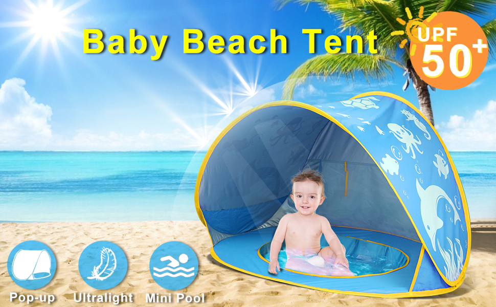 b0e3cf8b 2dab 49b9 a7e0 7b83ede71090.  CR0,0,970,600 PT0 SX970 V1    - TURNMEON Baby Beach Tent with Pool,2020 Upgrade Easy Fold Up & Pop Up Unique Ocean World Baby Tent,50+ UPF UV Protection Outdoor Tent for Aged 0-4 Baby Kids Parks Beach Shade (Blue)