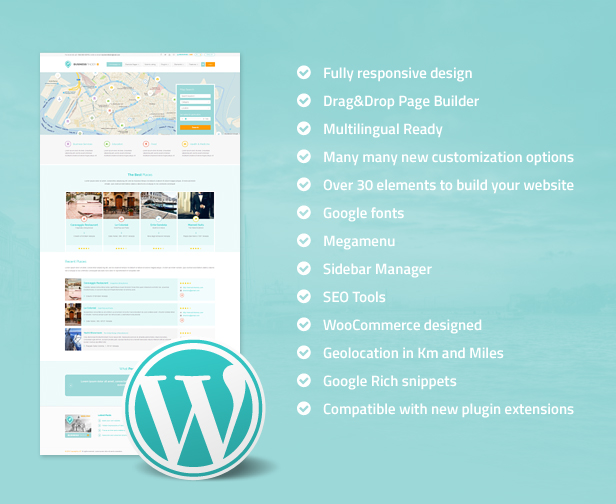 businessfinder features - Business Finder: Directory Listing WordPress Theme