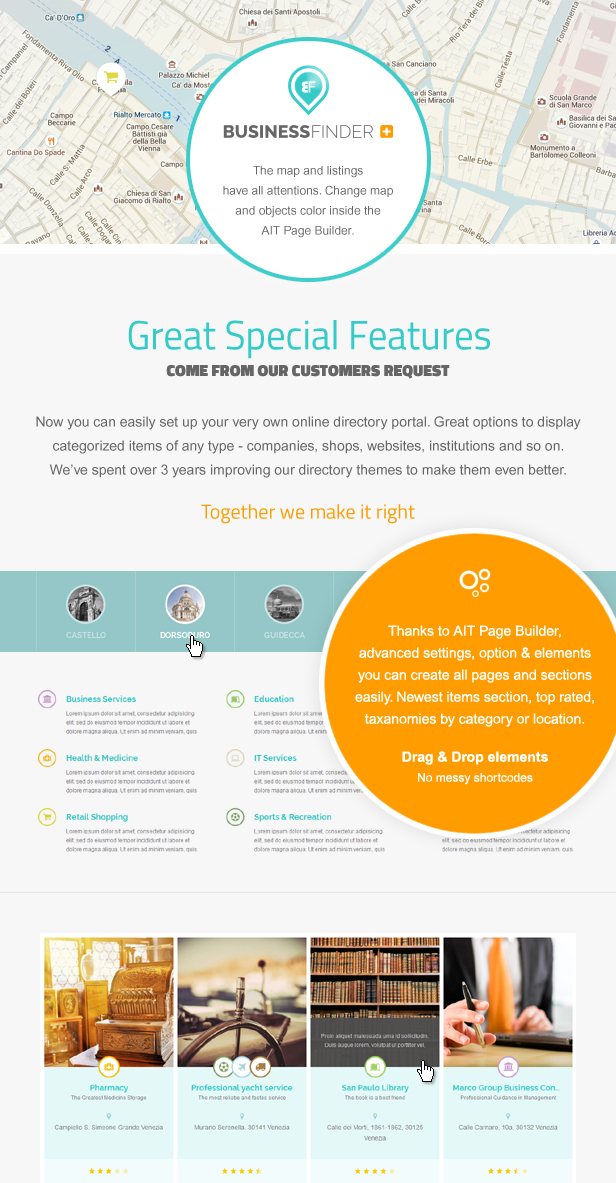 businessfinder special features - Business Finder: Directory Listing WordPress Theme