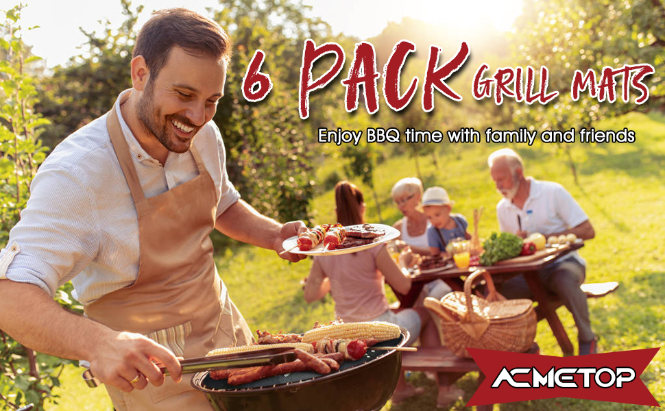 c99e9247 729c 439f abce 8f1c18c3feba.  CR0,0,970,600 PT0 SX970 V1    - ACMETOP 6 Pack Large Grill Mat, Non Stick BBQ Grill Mat, Reusable Grill Mats with Two Oil Brushes, Easy to Clean Barbecue Grilling Accessories for Gas, Charcoal, Electric Grill - 19.69 x 15.75 Inch