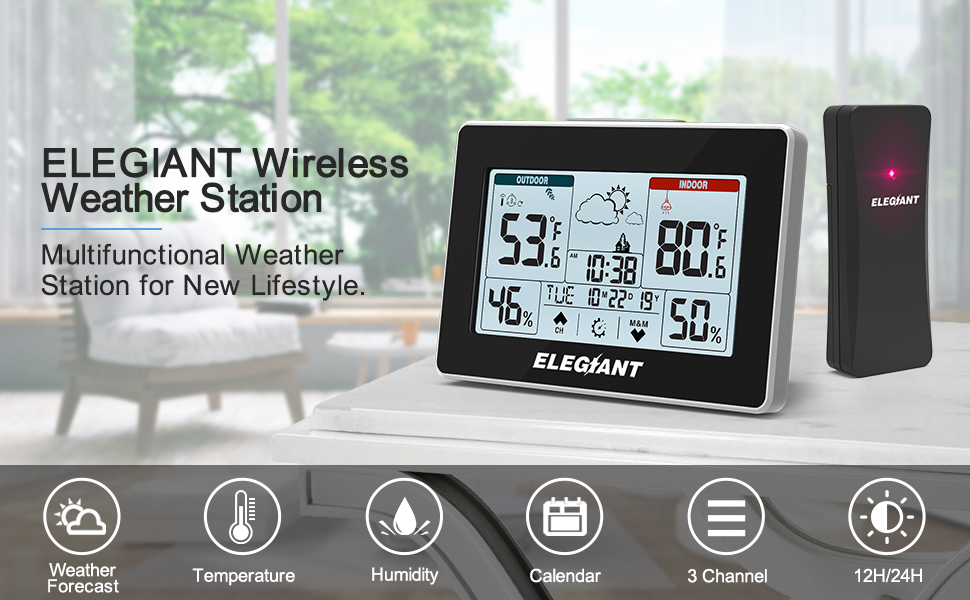ca197dc1 d4f2 4a9f 9f97 ded2864f93a4.  CR0,0,970,600 PT0 SX970 V1    - ELEGIANT Wireless Weather Station, Indoor Outdoor Thermometer Hygrometer with Sensor, LCD Touch Screen, Digital Temperature Humidity Monitor, Weather Forecast, Time & Date(7 Language), 3 Channels