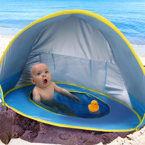 d7e3a0af 724b 4669 9f88 12e78ab003d6.  CR0,0,300,300 PT0 SX300 V1    - TURNMEON Baby Beach Tent with Pool,2020 Upgrade Easy Fold Up & Pop Up Unique Ocean World Baby Tent,50+ UPF UV Protection Outdoor Tent for Aged 0-4 Baby Kids Parks Beach Shade (Blue)