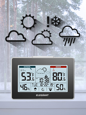 deb0af9e 9423 4cc0 8ca1 31c91e938074.  CR0,0,300,400 PT0 SX300 V1    - ELEGIANT Wireless Weather Station, Indoor Outdoor Thermometer Hygrometer with Sensor, LCD Touch Screen, Digital Temperature Humidity Monitor, Weather Forecast, Time & Date(7 Language), 3 Channels