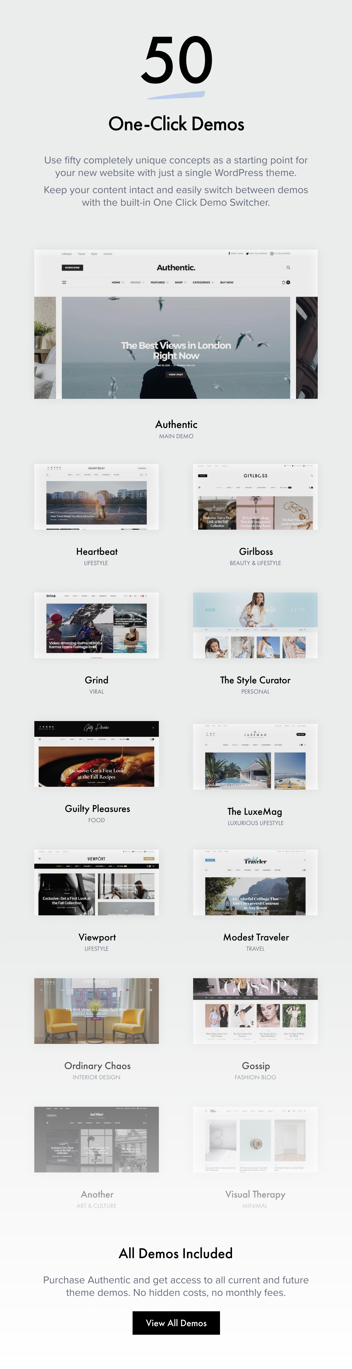 demos - Authentic - Lifestyle Blog & Magazine WordPress Theme