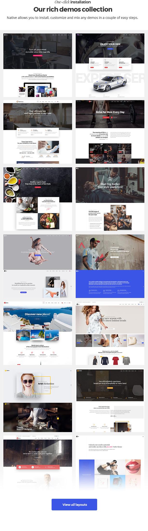 demos new - Native - Stylish Multi-Purpose Creative WP Theme