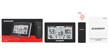 f3d84186 55cc 4951 b3e9 f10e50cb69da.  CR0,0,350,175 PT0 SX350 V1    - ELEGIANT Wireless Weather Station, Indoor Outdoor Thermometer Hygrometer with Sensor, LCD Touch Screen, Digital Temperature Humidity Monitor, Weather Forecast, Time & Date(7 Language), 3 Channels