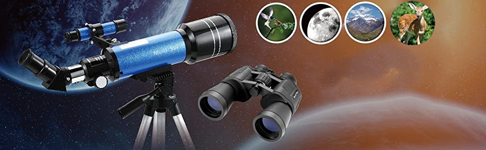f3f58092 2aba 4f44 9404 61e5d13983f3. CR0,4,1704,527 PT0 SX970   - MaxUSee Travel Telescope with Backpack - 70mm Refractor Telescope & 10X50 HD Binoculars Bak4 Prism FMC Lens for Moon Viewing Bird Watching Sightseeing
