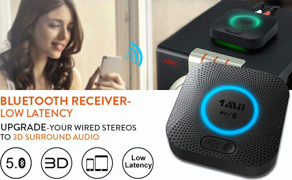 fda13709 67f2 43cf 89d8 fccfecd1f1c0.  CR0,0,970,600 PT0 SX970 V1    - [Upgraded] 1Mii B06 Plus Bluetooth Receiver, HIFI Wireless Audio Adapter, Bluetooth 5.0 Receiver with 3D Surround aptX Low Latency for Home Music Streaming Stereo System