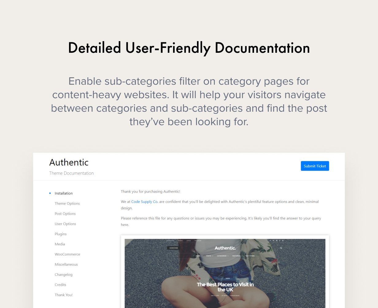 friendly documentation - Authentic - Lifestyle Blog & Magazine WordPress Theme