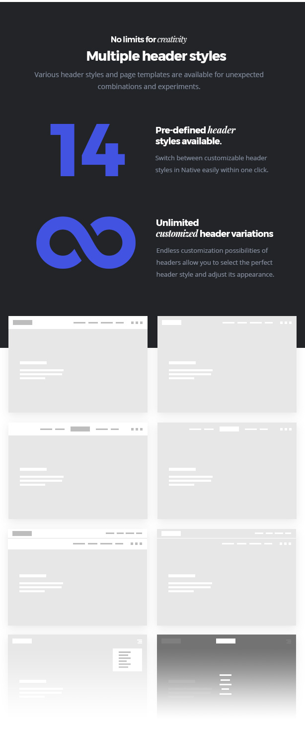 headers new - Native - Stylish Multi-Purpose Creative WP Theme