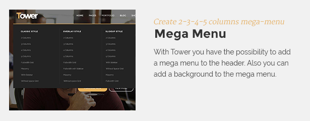 megamenu - Tower | Business WordPress