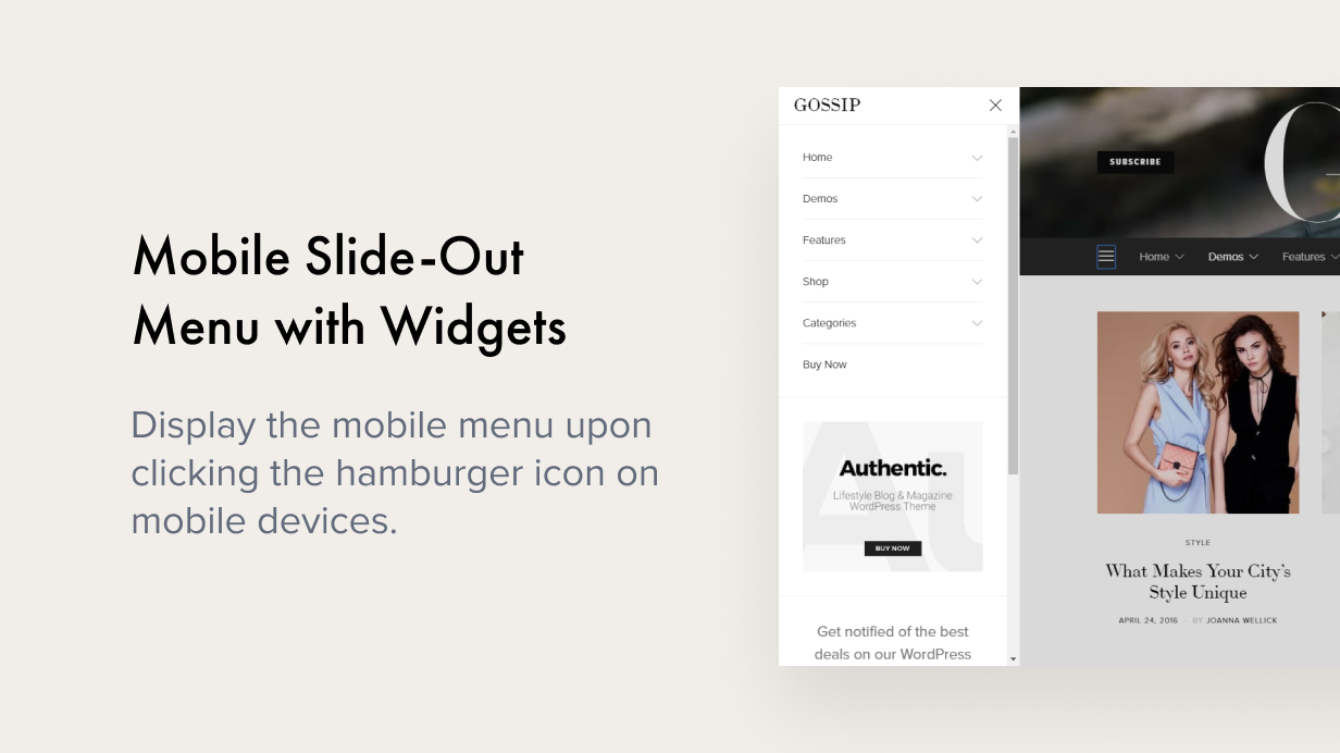 mobile slide out menu - Authentic - Lifestyle Blog & Magazine WordPress Theme