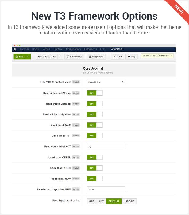 new t3 framework options - Flatastic Responsive Multipurpose VirtueMart Theme