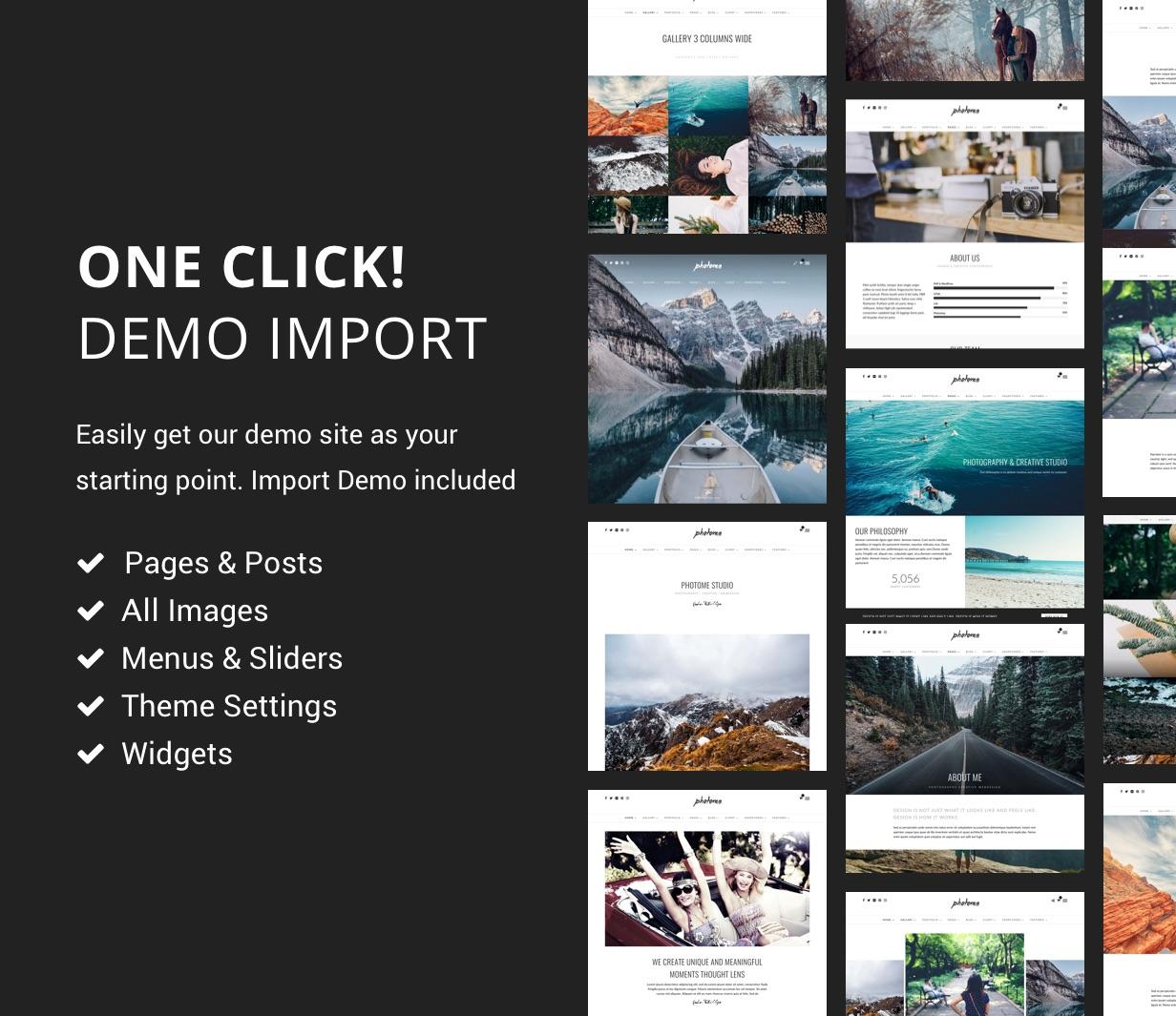 photome demo import - PhotoMe | Portfolio WordPress