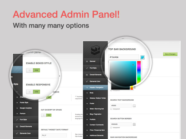 screen admin panel - Blue Diamond - Responsive Corporate WP Theme