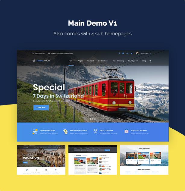 screen demo v1 - Travel Tour Booking WordPress
