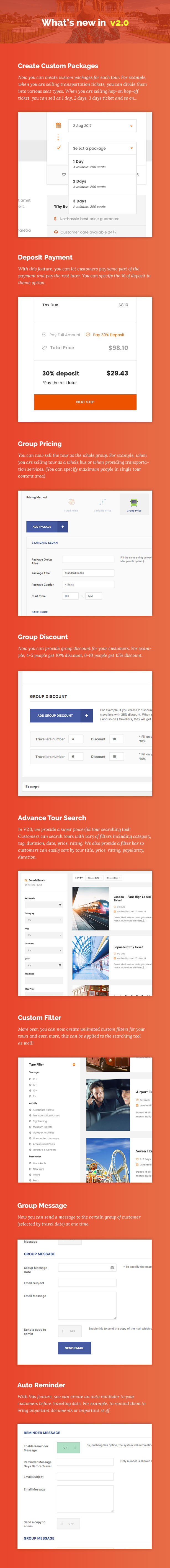 screen features v2 - Travel Tour Booking WordPress