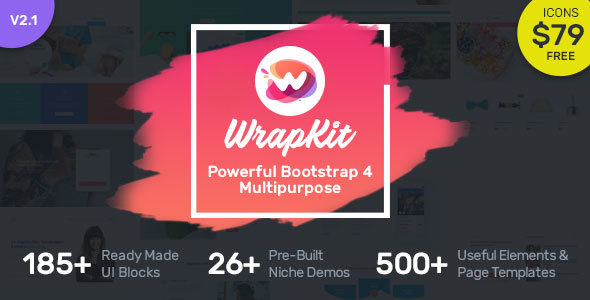 screen01.  large preview - WrapKit - Bootstrap 4 Multipurpose Template
