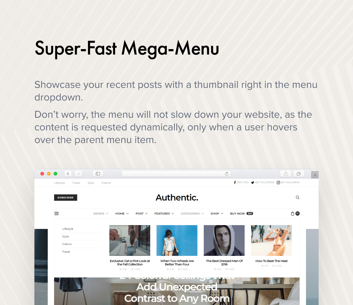 super fast mega menu - Authentic - Lifestyle Blog & Magazine WordPress Theme